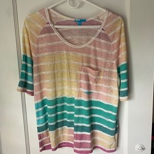 BDG multicolor stripped tee with front pocket